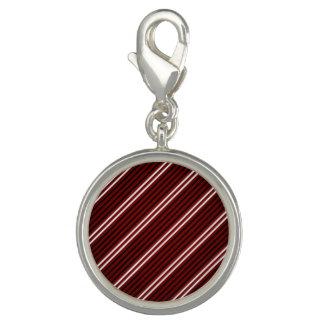 White Red Black Stripe Round Charm