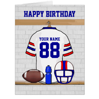White Red Blue Football Jersey Happy Birthday Big Greeting Card