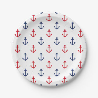 White Red Blue Nautical Anchor Pattern 7 Inch Paper Plate