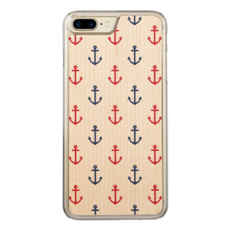 White Red Blue Nautical Anchor Pattern Carved iPhone 8 Plus/7 Plus Case