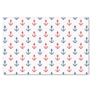 White Red Blue Nautical Anchor Pattern Tissue Paper