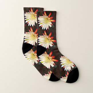 White & Red Cactus Flower Socks