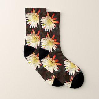 White & Red Cactus Flower Socks 1