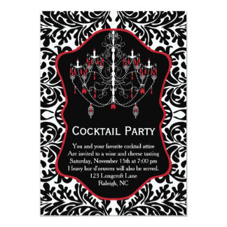 White red chandelier, black damask Cocktail Party 13 Cm X 18 Cm Invitation Card