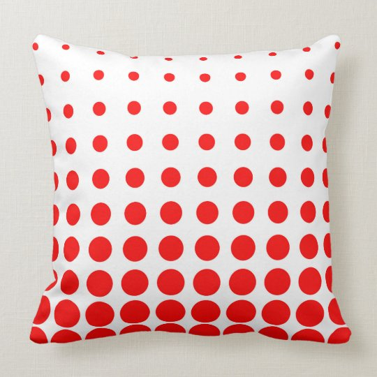 White & Red Colourful Vector abstract dot Throw Pillow
