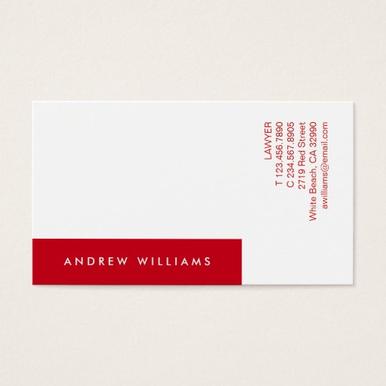 White Red Contemporary Minimalistic Business Card