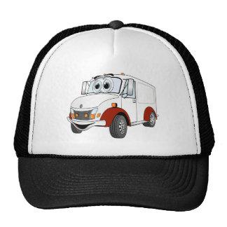 White Red Delivery Van Cartoon Mesh Hat