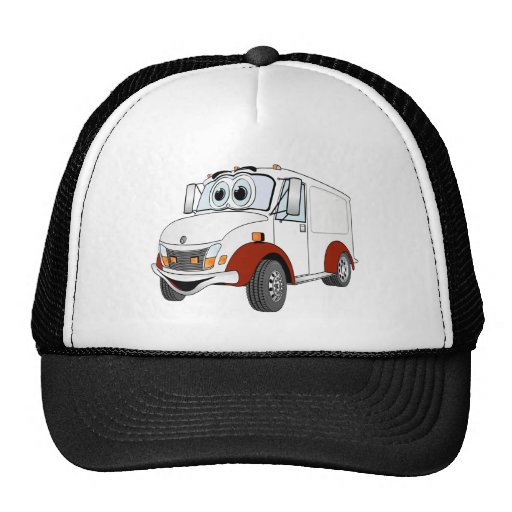 White Red Delivery Van Cartoon Mesh Hat