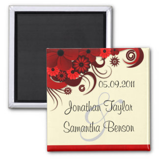 White Red Floral Save The Date Fridge Magnets