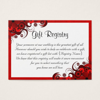 White Red Floral Wedding Gift Registry Mini Cards