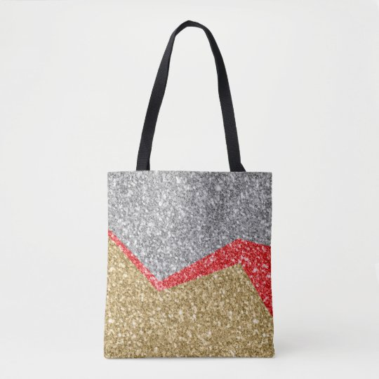 White Red & Gold Glitter Geometric Design Tote Bag