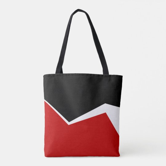 White Red & Gold Modern Geometric Design Tote Bag
