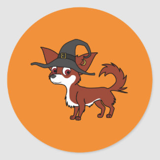 White & Red Long Haired Chihuahua with Witch Hat Round Sticker