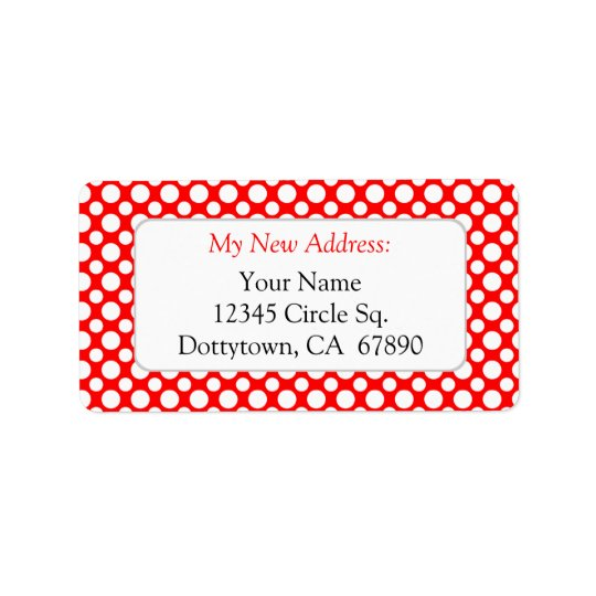 White Red Polka Dots Custom New Address Lables Address Label