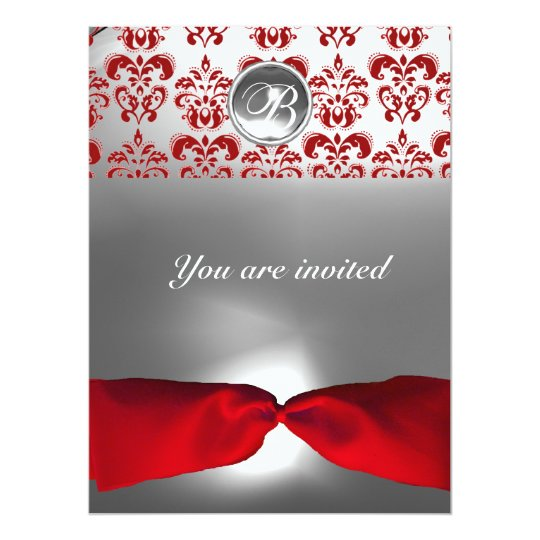 WHITE RED RIBBON DAMASK GEM STONE MONOGRAM CARD