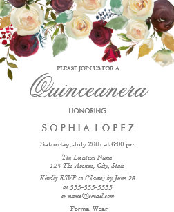 Burgundy quinceanera gifts gift ideas zazzle uk white red rose flowers quinceanera 15th birthday card bookmarktalkfo Gallery