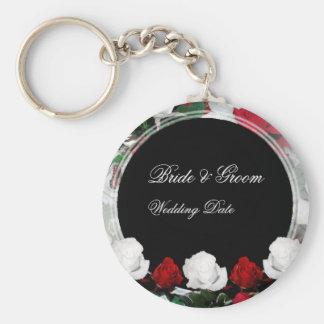 White & Red Roses Bride & Groom Wedding Favor 1 Key Ring