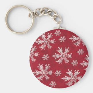 White & Red Snowflake Design Key Ring