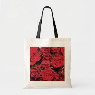 White Red sweetheart roses flowers Bag