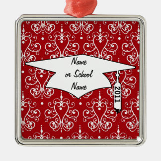 white red swirl chandelier heart damask graduation Silver-Colored square decoration