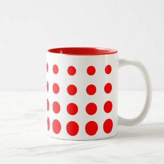 White & Red  Vector abstract dot Two-Tone Coffee Mug