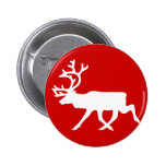 White Reindeer / Caribou Silhouette Pinback Buttons