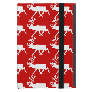 White Reindeer / Caribou Silhouette iPad Mini Cover