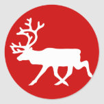 White Reindeer / Caribou Silhouette Round Stickers
