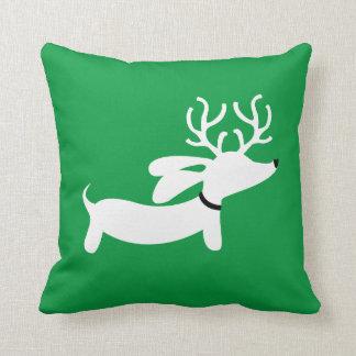 White Reindeer Dachshund Cushion