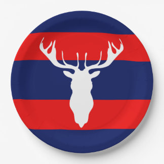 White Reindeer Head Silhouette Red Navy Blue Paper Plate