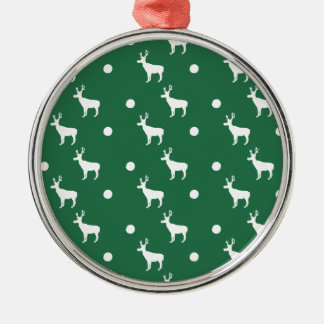 White Reindeer on a Green Background Ornament
