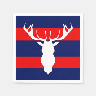 White Reindeer Silhouette Red Navy Blue Stripes Paper Serviettes