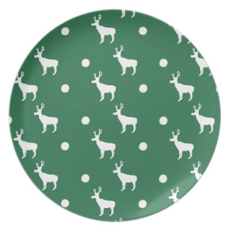 White Reindeer with Green Background Plate