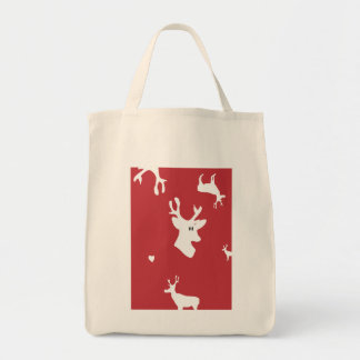 White Reindeers with Heart Bag