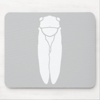 White Retro Cicada Insect Print Mouse Mat