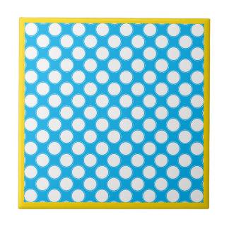 White Retro Circles On Blue Sea Themed Bathroom Small Square Tile