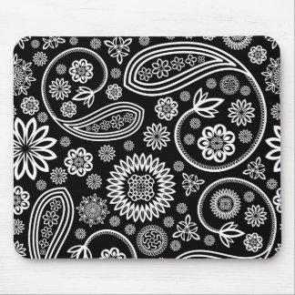 White Retro Floral Design On Black Mouse Mat