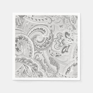 White Retro Paisley Bandanna/Bandana Paper Napkin