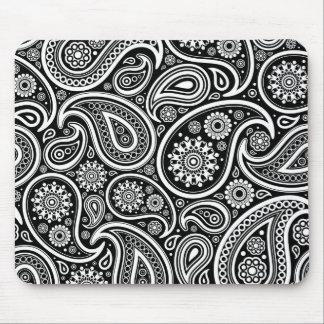 White Retro Paisley Pattern Design On Black Mouse Mat