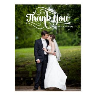White Retro Script Wedding Thank You Postcard