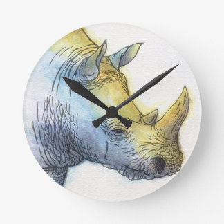 White Rhino Round Clock