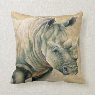 White Rhino Throw Pillow