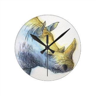 White Rhino Wall Clock