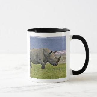 White Rhinoceros and distant Lesser Flamingos, Mug