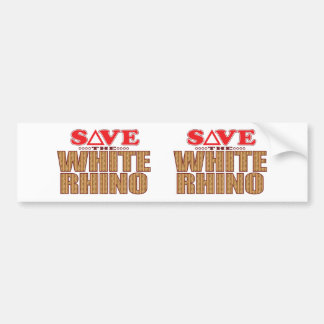 White Rhinoceros Save Bumper Sticker