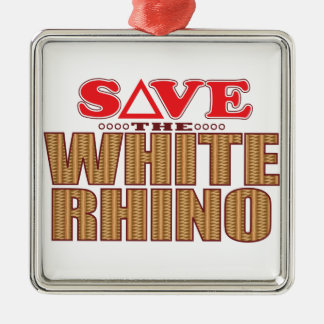 White Rhinoceros Save Christmas Ornament