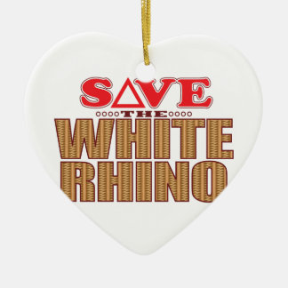 White Rhinoceros Save Christmas Ornament
