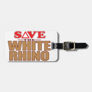 White Rhinoceros Save Luggage Tag