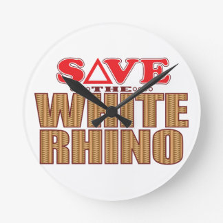 White Rhinoceros Save Round Clock