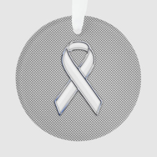 White Ribbon Awareness White Carbon Fiber Print